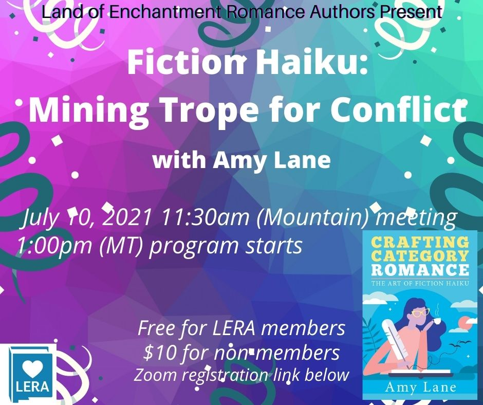 Graphic showing the title of the meeting program Fiction Haiku: Mining Trope for Conflict with Amy Lane